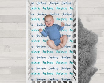 Personalized Name Crib Sheet - Design your own crib sheet - Made by moms in USA - Blue and Peacock