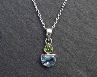 Blue Topaz and Peridot Pendant, Gemstone Pendant, Birthstone Pendant Necklace, Multi Stone Pendant, Sterling Silver
