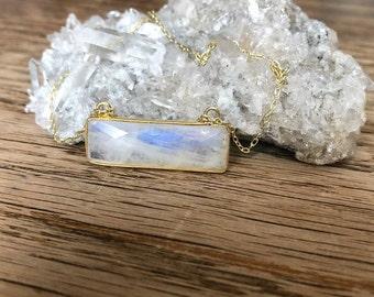 Rainbow Moonstone Rectangle Bar Necklace