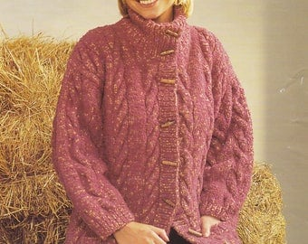 Womens vintage knitting pattern cardigan cable jacket pdf INSTANT download pattern only 32 34 36 38 40 and 42 inches