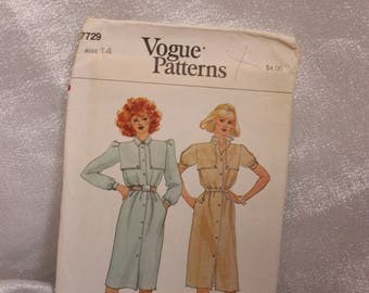 Vogue 7729 Dress pattern Size 14, Factory Folded, OOP