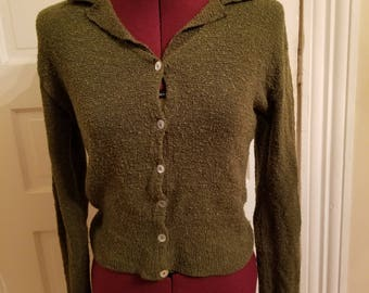 Vintage 90s green moss sweater size small