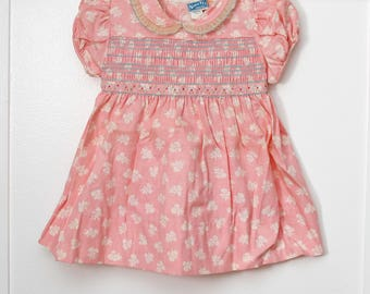 Girls 2: New Old Stock Nannette Floral Print Dress, Floral Embroidery, Front Smocking, Organdy Collar
