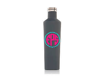 Personalized 25 oz Corkcicle canteen. Monogram with dot circle.