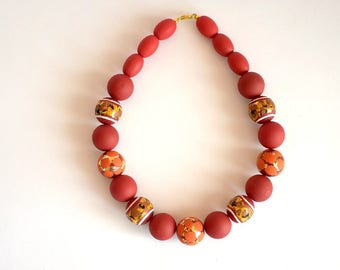 Hand Painted Necklace, Wood bead necklace, hand painted wood necklace, Orange hand painted wooden necklace, hand painted wooden jewelry
