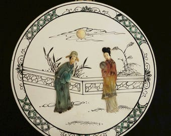 """Vintage Japanese Landscape Courting Scene Wall Decor LARGE Hand Painted Medallion with 3-D Relief """"Alabaster"""" Figures Abalone Moon Asian Art"""
