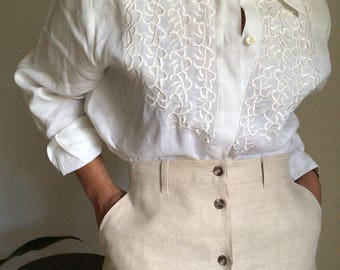vintage embroidered linen blouse