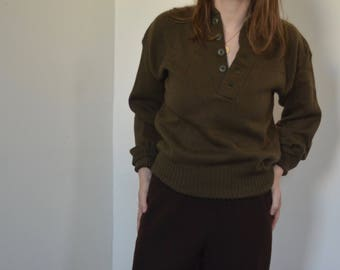 Vintage Military Wool Henley Sweater