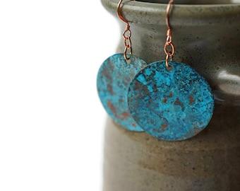 Turquoise Statement Earrings, Patina Earrings, Large Circle Earrings, Copper Earrings, Copper Jewelry, Artisan Earrings, Bohemian earrings