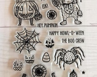 halloween stamps, halloween planner, october daily, trick or treat, spider stamps, spiderweb stamps, warewolf stamp, eyeball, pumpkin stamps