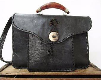 Vintage Moroccan Artisan Handmade Black Leather & Horn Messenger Briefcase Bag