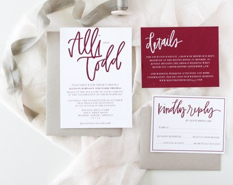 Cranberry Invitation Suite | Modern Simple Burgundy Invitation Suite | Handlettered Minimal Invitations | 5x7 Wedding Invitation Suite |