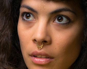 gold septum ring, tribal septum, geometric septum piercing,long wings of fire, septum ring, gold earring, festival jewelry, septum, timna