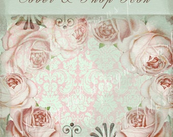 Etsy Cover banner and shop icon, Misty Roses, instant download, blank file, pale pink roses muted aqua pink damask shabby chic cabbage roses