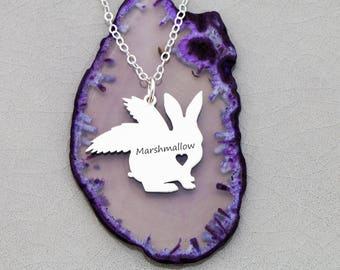 Pet Rabbit Memorial Charm Bunny Loss • Pet Bunny Rainbow Bridge Angel Winged Rabbit Bunny Wings Angel Flying Rabbit Floppy Bunny