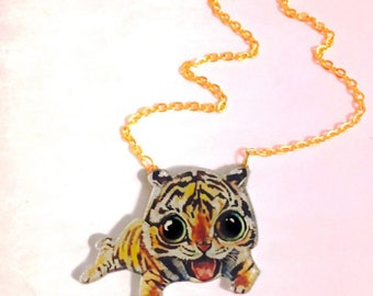 Tiger Cub Gold Necklace, Animal lovers gift, Animated jewelry, Cute Kawaii Necklace, Big Cat, Wild Animals, Collar