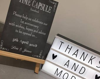 Chalk effect wedding guest book print. Time capsule wedding guest book
