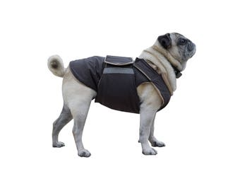 Pug Winter Dog Coat - Dog jacket with full belly cover - Waterproof Winter coat - Pug jacket - Custom made for your dog