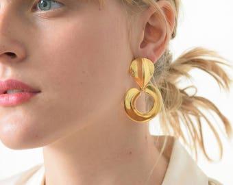 1980s Gold Door Knocker Earrings 80s Vintage Doorknockers
