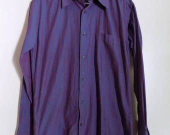 90s Mens Purple Blue Button Down Sjirt by Next Size M Size Medium