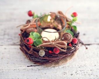 Christmas Candlestick arrangement,  Christmas Table decoration, Acorns Natural arrangement, Berry Floral Arrangement