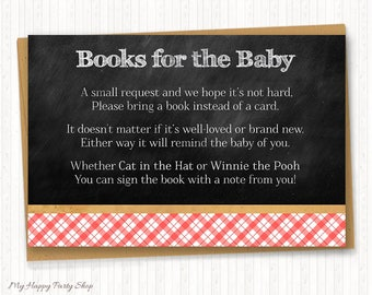 BABY-Q Book Request, Chalkboard Book Request, Baby Q Shower, BBQ Baby Shower, Gingham, Digital, Instant Download, PRINTABLE - BSU020R
