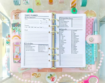 Travel Planner Kit Travel Journal Personal Filofax Travel Printable Vacation Packing List Shopping List Trip Planner. Instant Download
