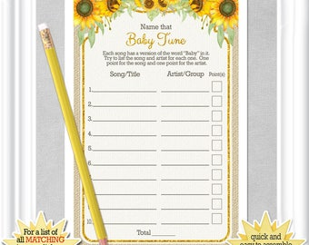 Baby Shower NAME that TUNE game with whimsical sunflowers and gold accents, diy PRINTABLE, 99BA