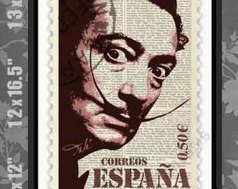 Salvador Dali STAMP, Salvador Dali Sketch, Salvador Dali print, Dali Art, Salvador Dali Poster, Salvador Dali art, Dali wall art, Dali print