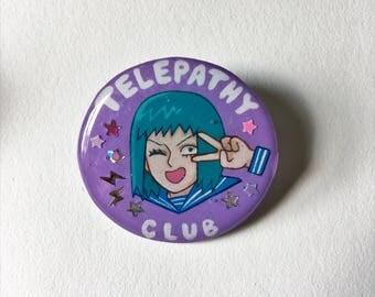 Hand Drawn Mob Psycho 100: Tome Kurata's Telepathy Club RESIN Badge / Brooch / Pin
