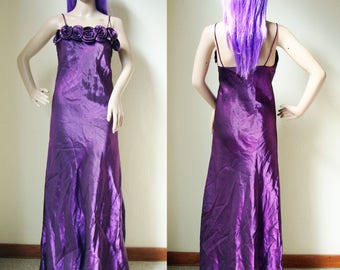 PURPLE MAXI DRESS -spaghetti straps, prom, party, 80s, 90s, clueless, long, roses, floral, grunge, witch, gothic, wedding-