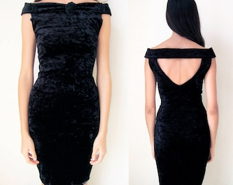 BLACK ROSE DRESS -bodycon, 80s, 90s, prom, party, velvet, floral, sexy, gothic, back neckline, cocktail, cut out, grunge, sleeveless-