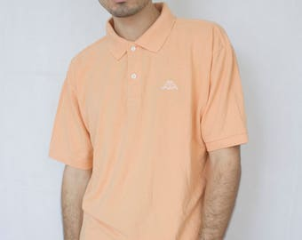 ORANGE KAPPA POLO -tshirt, 90s, vaporwave, hip hop, sportswear, aesthetic, nike, club kid, pastel, cyber-