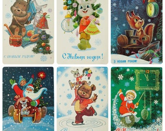 Happy New Year! Artist V. Zarubin - Set of 9 (7 Signed) Vintage Soviet Postcards 1970s - 1990s Hare Bear Squirrel Santa Claus Christmas tree