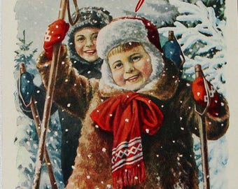 Happy New Year! Illustrator E. Gundobin - Vintage Soviet Postcard, 1956. Children Skiing Snow Snowflakes Winter Forest Merry Christmas Print