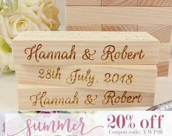 SALE 20% OFF - Custom Wedding Guest Book Alternative | Medium wood blocks, Tower Guest Book, 3D Guest Book, Tumbling Tower, Lawn Game