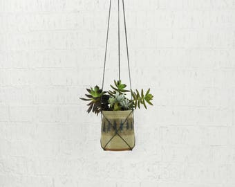 1970s Vintage Hanging Planter | Sandstone Pottery Clay | Beige, Gray, Brown Plant Pot Holder and Hanger | Indoor Garden | Succulent, Herbs