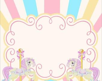 My Pastel Carousel Horses Backdrop /Carousel backdrop/ carousel/ first birthday/1st birthday backdrop/ birthday party