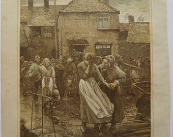 Among the Missing Walter Langley Antique Print Coloured Engraving 1884