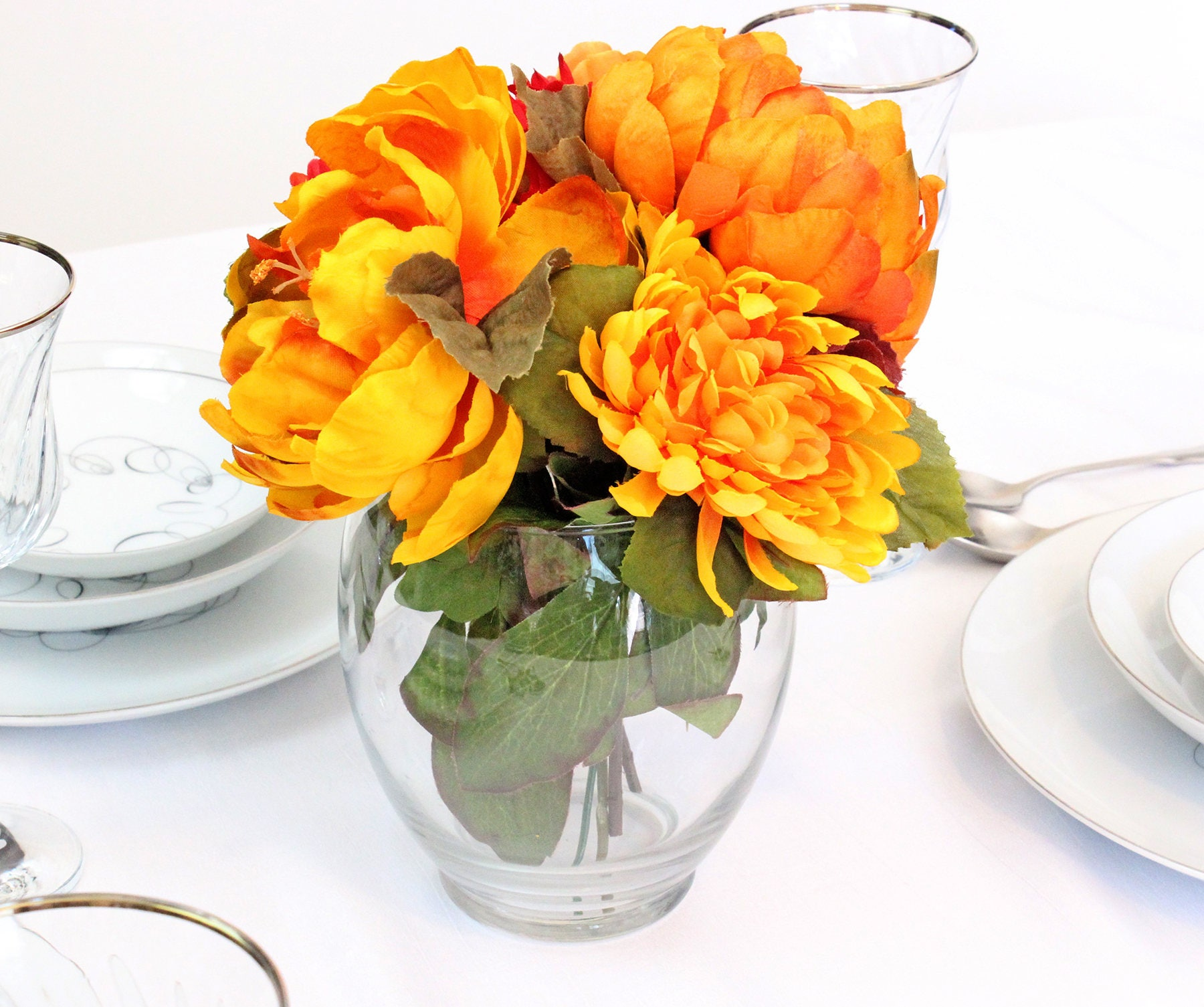Silk Flower Arrangement Thanksgiving Flowers Fall Wedding Centerpiece Table