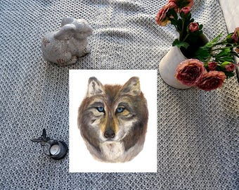 Wolfe watercolour giclee print, animal art, illustration, drawing, painting