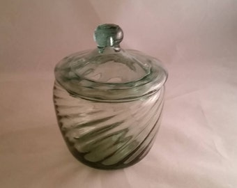 Small Hand Blown Light Blue Tinted Bowl with Lid