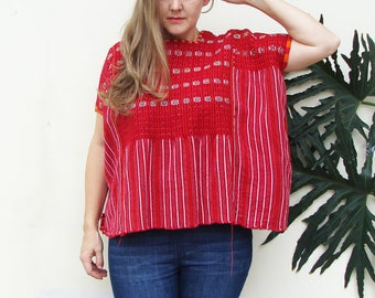 Red Handwoven Guatemalan Cotton Huipil | Vintage Ethnic Blouse | Hand embroidered Tunic | Traditional Guatemalan Clothing Colotenango Top