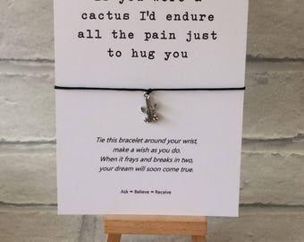 Cactus Wish Bracelet - Cactus String Bracelet - Cactus Charm Bracelet - If you were a Cactus Quote - Cactus Charm Bracelet