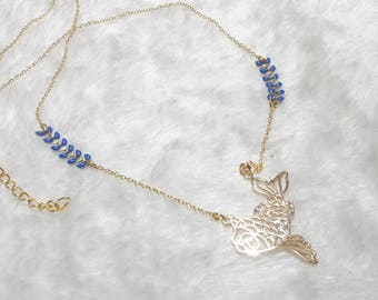 Gold necklace blue origami fish