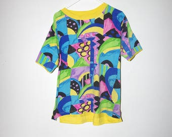 90's TRAFFIC JAM wild colorful pastel shapes yellow colorblock ringer t-shirt