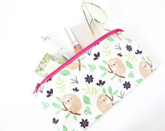 SLOTH Zipper Pouch. Cute Sloth Bag. Sloth Lover. Sloth Stuff. Small Travel Pouch. Cute Travel Pouch. Cute Makeup Bag. Cute Purse Organizer