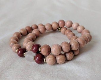 Ruby Rosewood Duo A, Rose Quartz, 8mm, stackable bracelets, elastic, gifts for him, gifts for her