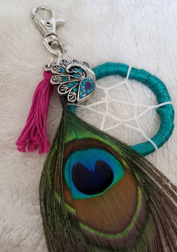 Turquoise Peacock Feather Purse Accessory