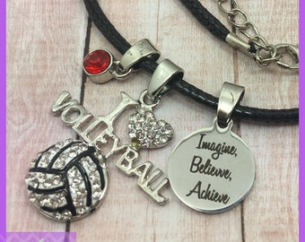 Personalized Volleyball Gift - Volleyball Necklace - Birthstone Necklace - Imagine Believe Achieve - Graduation - Senior Night - I Heart